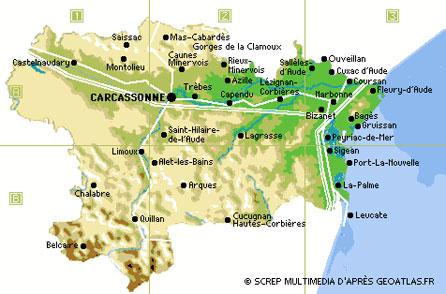 carte de l aude touristique Aude, Languedoc Roussillon, tourisme, vacances, campings, gîtes